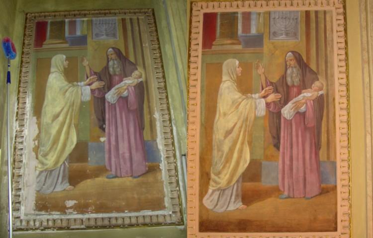 """Restauro interno della chiesa di Villadosia: """"Presentazione di Gesù al tempio"""" prima e dopo il restauro"""