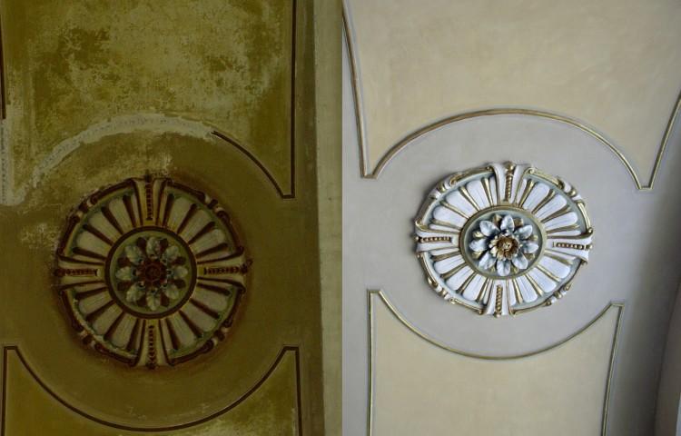Restauro interno della chiesa di Villadosia: uno degli stucchi prima e dopo il restauro