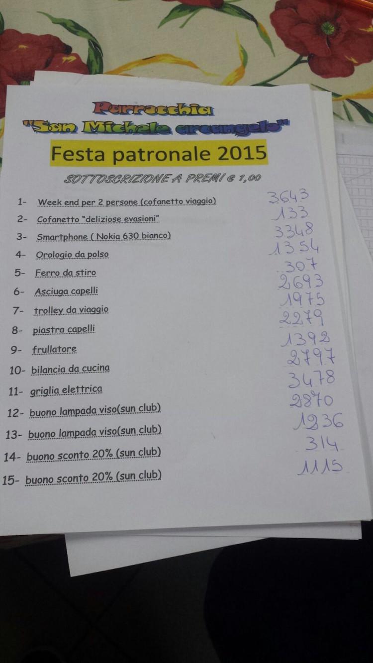 Lotteria patronale mornago 2015
